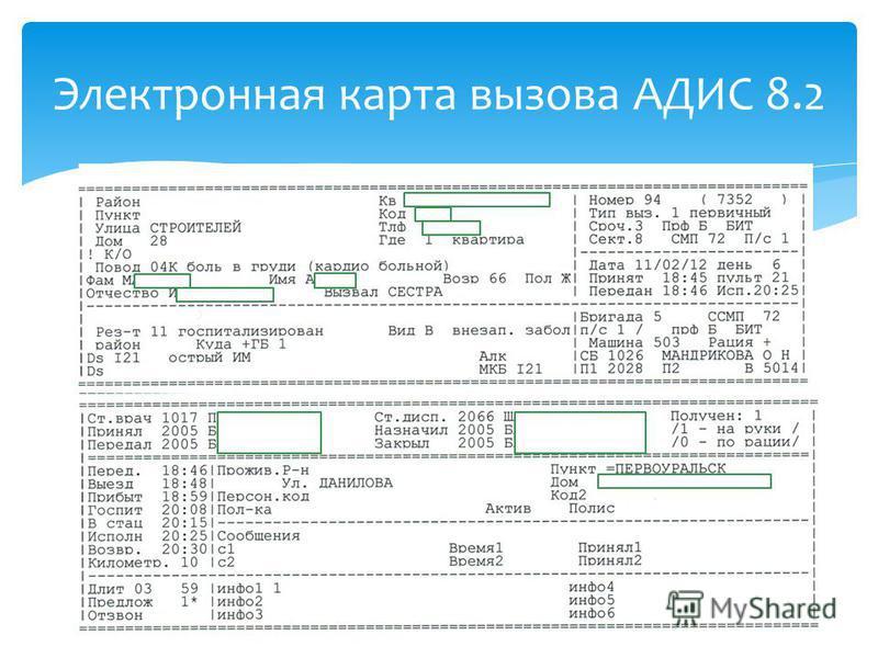Электронная карта вызова АДИС 8.2