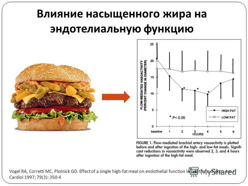 Влияние насыщенного жира на эндотелиальную функцию Vogel RA, Corretti MC, Plotnick GD. Effect of a single high-fat meal on endothelial function in healthy subjects. Am J Cardiol 1997; 79(3): 350-4