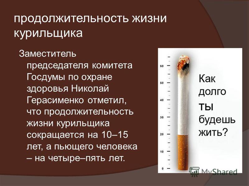 продолжительность жизни курильщика Заместитель председателя комитета Госдумы по охране здоровья Николай Герасименко отметил, что продолжительность жизни курильщика сокращается на 10–15 лет, а пьющего человека – на четыре–пять лет.