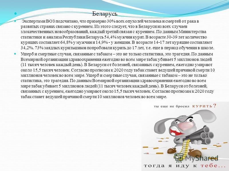 Беларусь Экспертами ВОЗ подсчитано, что примерно 30% всех опухолей человека и смертей от рака в развитых странах связано с курением. Из этого следует, что в Беларуси из всех случаев злокачественных новообразований, каждый третий связан с курением. По