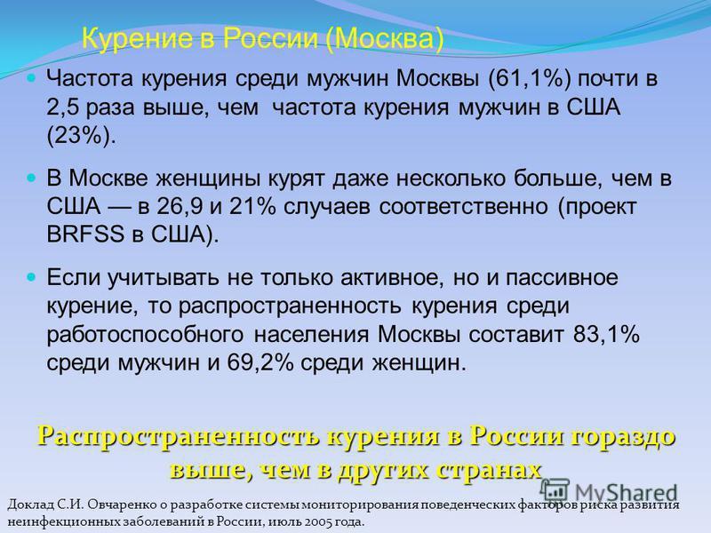 Курение в России (Москва) Частота курения среди мужчин Москвы (61,1%) почти в 2,5 раза выше, чем частота курения мужчин в США (23%). В Москве женщины курят даже несколько больше, чем в США в 26,9 и 21% случаев соответственно (проект BRFSS в США). Есл