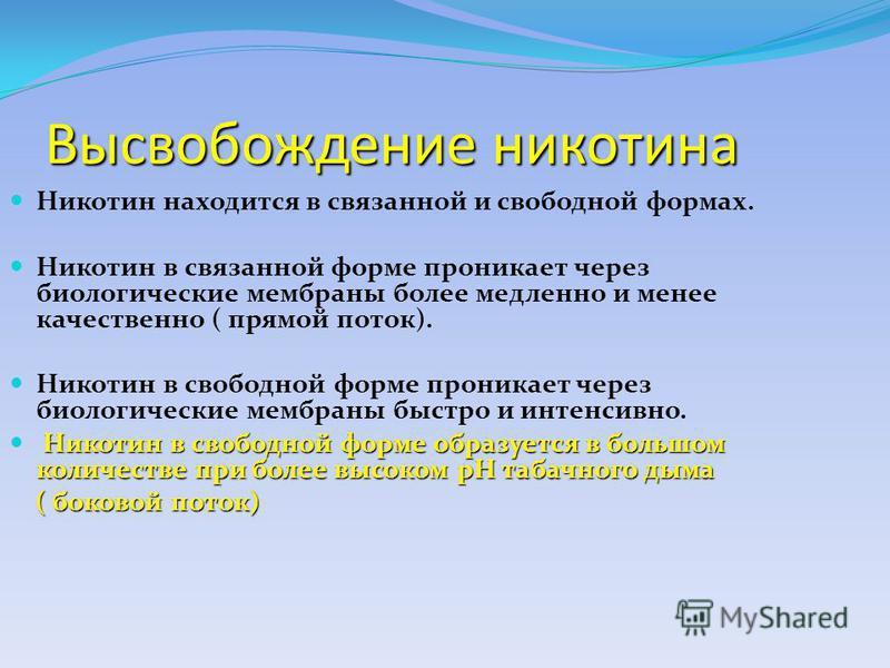 Высвобождение никотина Никотин находится в связанной и свободной формах. Никотин в связанной форме проникает через биологические мембраны более медленно и менее качественно ( прямой поток). Никотин в свободной форме проникает через биологические мемб