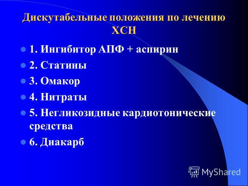Дискутабельные положения по лечению ХСН 1. Ингибитор АПФ + аспирин 2. Статины 3. Омакор 4. Нитраты 5. Негликозидные кардиотонические средства 6. Диакарб