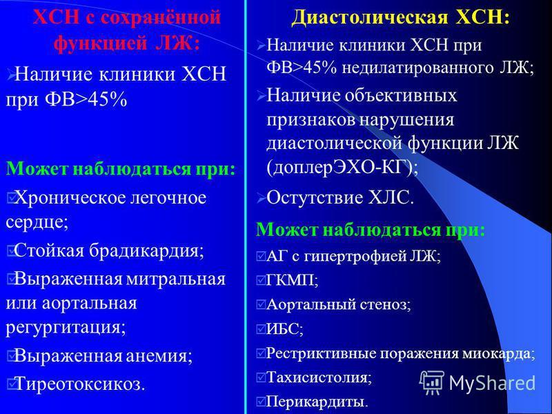 ХСН с сохранённой функцией ЛЖ: Наличие клиники ХСН при ФВ>45% Может наблюдаться при: Хроническое легочное сердце; Стойкая брадикардия; Выраженная митральная или аортальная регургитация; Выраженная анемия; Тиреотоксикоз. Диастолическая ХСН: Наличие кл