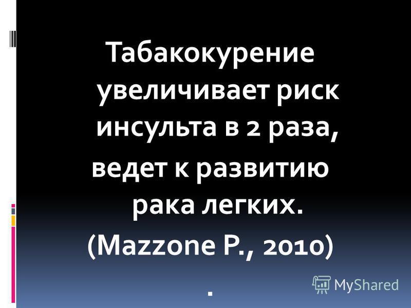 Табакокурение увеличивает риск инсульта в 2 раза, ведет к развитию рака легких. (Mazzone P., 2010).