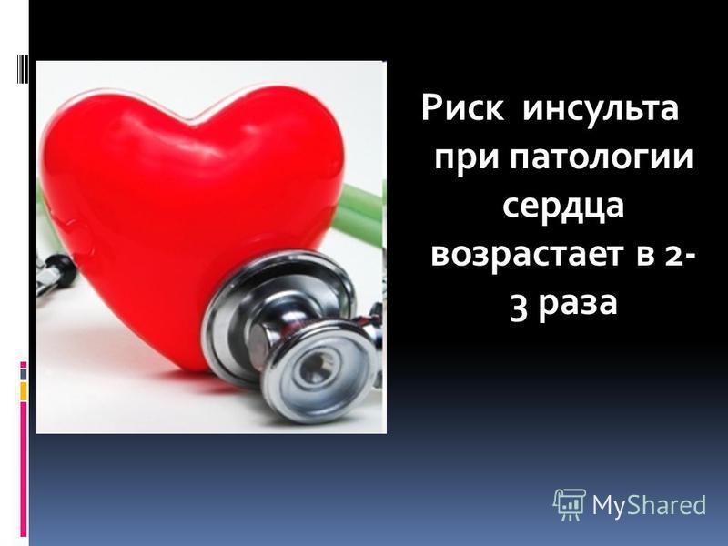 Риск инсульта при патологии сердца возрастает в 2- 3 раза
