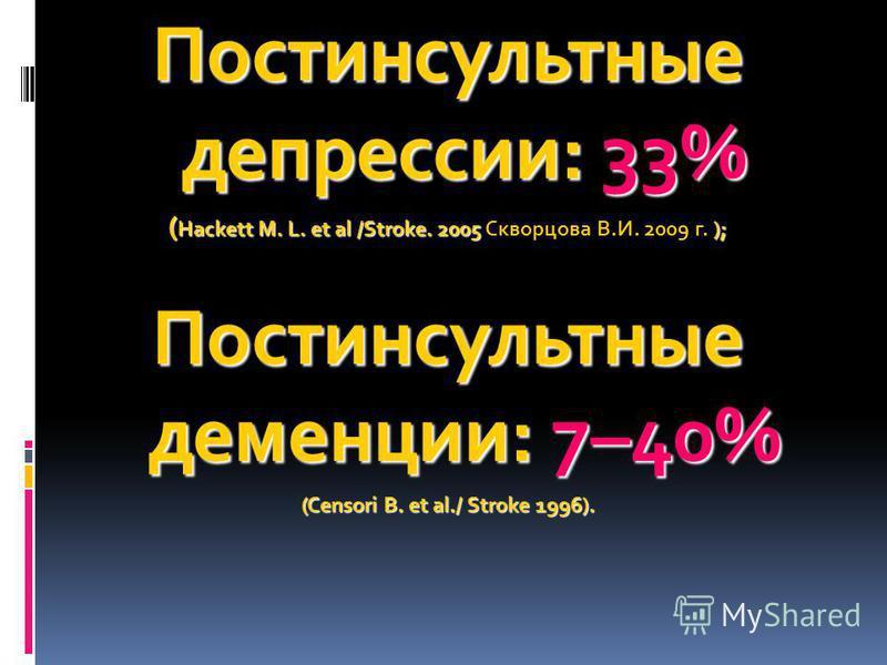 Постинсультные депрессии: 33% ( Hackett M. L. et al /Stroke. 2005 ); ( Hackett M. L. et al /Stroke. 2005 Скворцова В.И. 2009 г. ); Постинсультные деменции: 7–40% (Censori B. et al./ Stroke 1996).