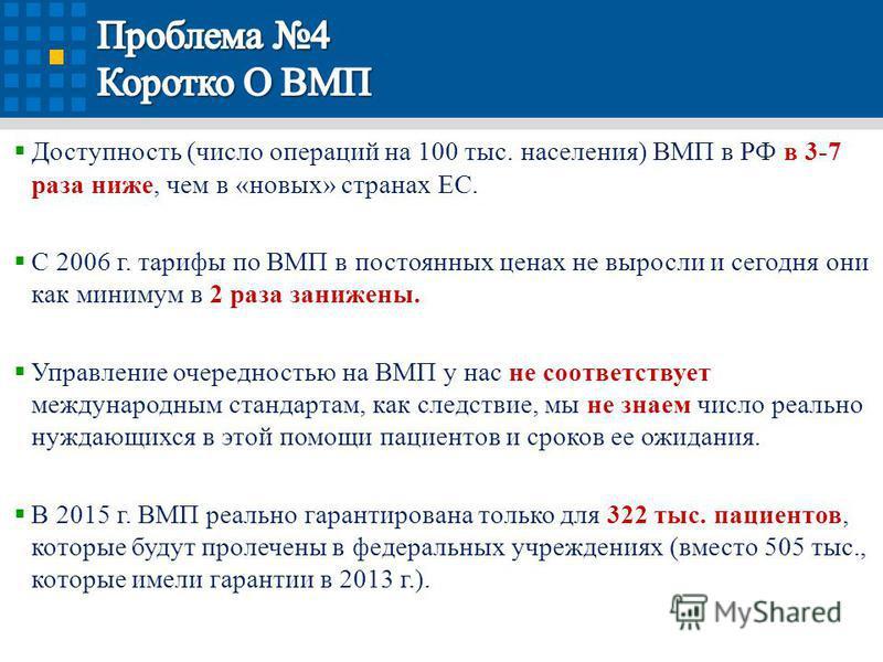 Доступность (число операций на 100 тыс. населения) ВМП в РФ в 3-7 раза ниже, чем в «новых» странах ЕС. С 2006 г. тарифы по ВМП в постоянных ценах не выросли и сегодня они как минимум в 2 раза занижены. Управление очередностью на ВМП у нас не соответс