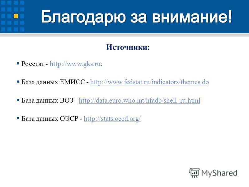 Источники: Росстат - http://www.gks.ru;http://www.gks.ru База данных ЕМИСС - http://www.fedstat.ru/indicators/themes.dohttp://www.fedstat.ru/indicators/themes.do База данных ВОЗ - http://data.euro.who.int/hfadb/shell_ru.htmlhttp://data.euro.who.int/h