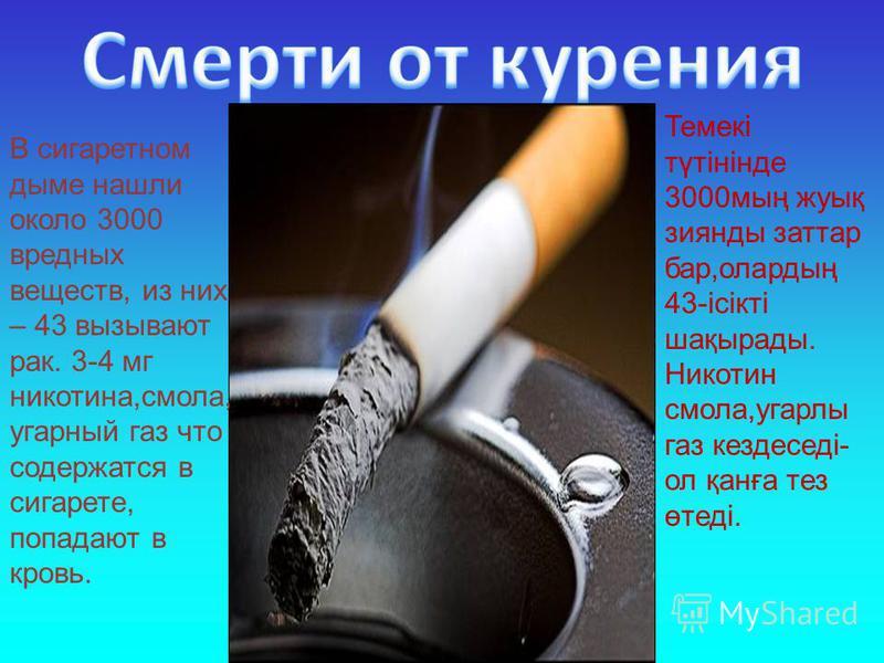 В сигаретном дыме нашли около 3000 вредных веществ, из них – 43 вызывают рак. 3-4 мг никотина,смола, угарный газ что содержатся в сигарете, попадают в кровь. Темекі түтінінде 3000 мың жуық зиянды заттар бар,олардың 43-ісікті шақырады. Никотин смола,у