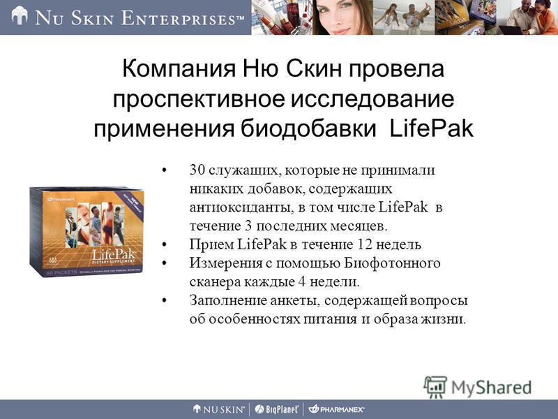 Компания Ню Скин провела проспективное исследование применения биодобавки LifePak 30 служащих, которые не принимали никаких добавок, содержащих антиоксиданты, в том числе LifePak в течение 3 последних месяцев. Прием LifePak в течение 12 недель Измере