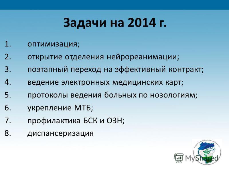 Задачи на 2014 г. 1.оптимизация; 2. открытие отделения нейрореанимации; 3. поэтапный переход на эффективный контракт; 4. ведение электронных медицинских карт; 5. протоколы ведения больных по нозологиям; 6. укрепление МТБ; 7. профилактика БСК и ОЗН; 8