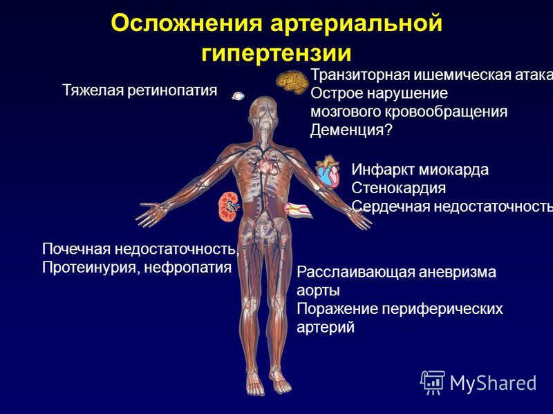 Осложнения артериальной гипертензии Тяжелая ретинопатия Почечная недостаточность, Протеинурия, нефропатия Транзиторная ишемическая атака Острое нарушение мозгового кровообращения Деменция? Инфаркт миокарда Стенокардия Сердечная недостаточность Рассла