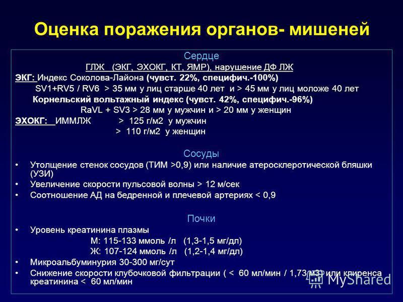 Оценка поражения органов- мишеней Сердце ГЛЖ (ЭКГ, ЭХОКГ, КТ, ЯМР), нарушение ДФ ЛЖ ЭКГ: Индекс Соколова-Лайона (чувствв. 22%, специфич.-100%) SV1+RV5 / RV6 > 35 мм у лиц старше 40 лет и > 45 мм у лиц моложе 40 лет Корнельский вольтажный индекс (чувс