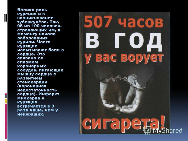 Велика роль курения и в возникновении туберкулёза. Так, 95 из 100 человек, страдающих им, к моменту начала заболевания курили. Часто курящие испытывают боли в сердце. Это связано со спазмом коронарных сосудов, питающих мышцу сердца с развитием стенок