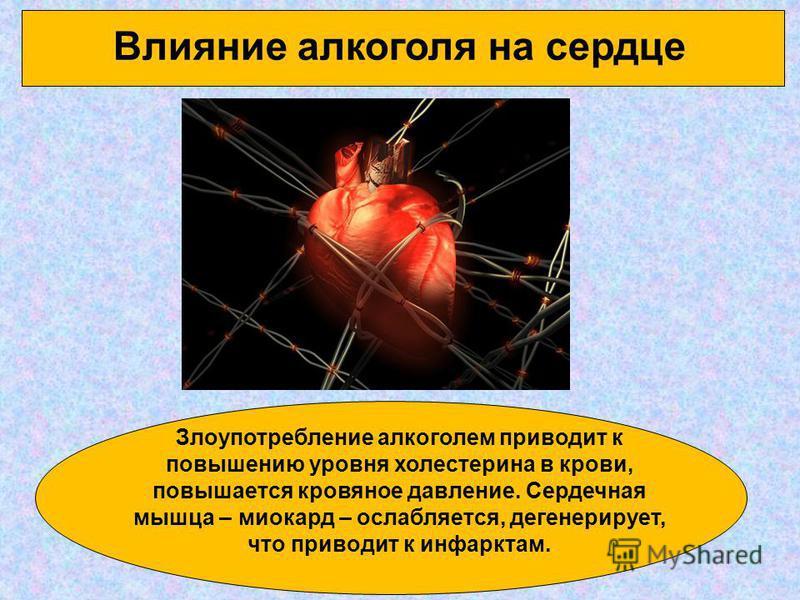 Влияние алкоголя на сердце Злоупотребление алкоголем приводит к повышению уровня холестерина в крови, повышается кровяное давление. Сердечная мышца – миокард – ослабляется, дегенерирует, что приводит к инфарктам.