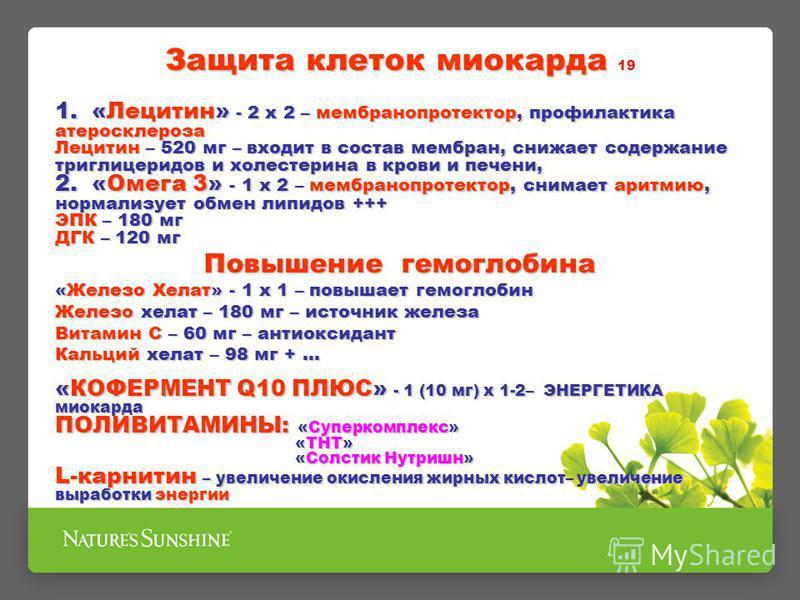 Защита клеток миокарда Защита клеток миокарда 19 1. «Лецитин» - 2 х 2 – мембранопротектор, профилактика атеросклероза Лецитин – 520 мг – входит в состав мембран, снижает содержание триглицеридов и холестерина в крови и печени, 2. «Омега 3» - 1 х 2 –
