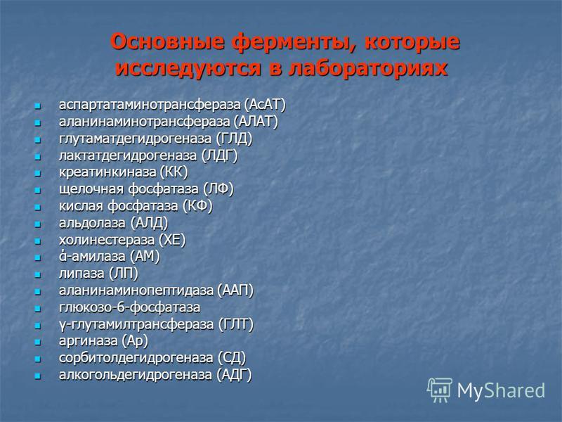 Основные ферменты, которые исследуются в лабораториях Основные ферменты, которые исследуются в лабораториях аспартатаминотрансфераза (AcAT) аспартатаминотрансфераза (AcAT) аланинаминотрансфераза (АЛАТ) аланинаминотрансфераза (АЛАТ) глутаматдегидроген