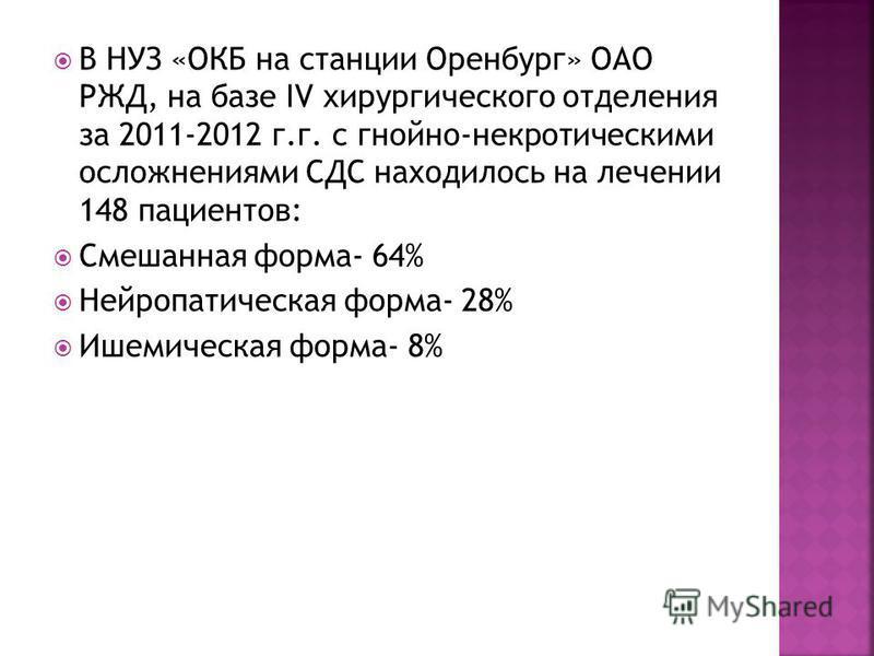 В НУЗ «ОКБ на станции Оренбург» ОАО РЖД, на базе IV хирургического отделения за 2011-2012 г.г. с гнойно-некротическими осложнениями СДС находилось на лечении 148 пациентов: Смешанная форма- 64% Нейропатическая форма- 28% Ишемическая форма- 8%