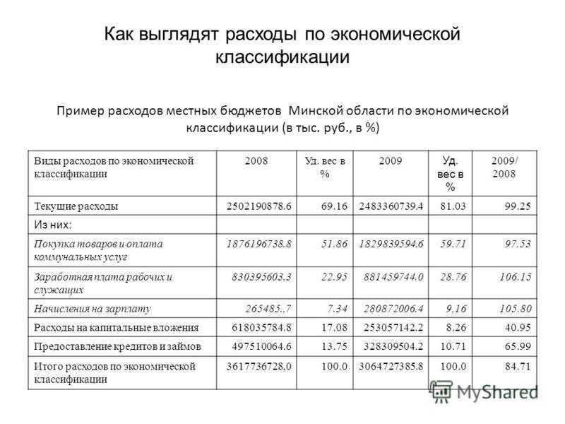 Пример расходов местных бюджетов Минской области по экономической классификации (в тыс. руб., в %) Виды расходов по экономической классификации 2008Уд. вес в % 2009 Уд. вес в % 2009/ 2008 Текущие расходы 2502190878.669.162483360739.481.0399.25 Из них