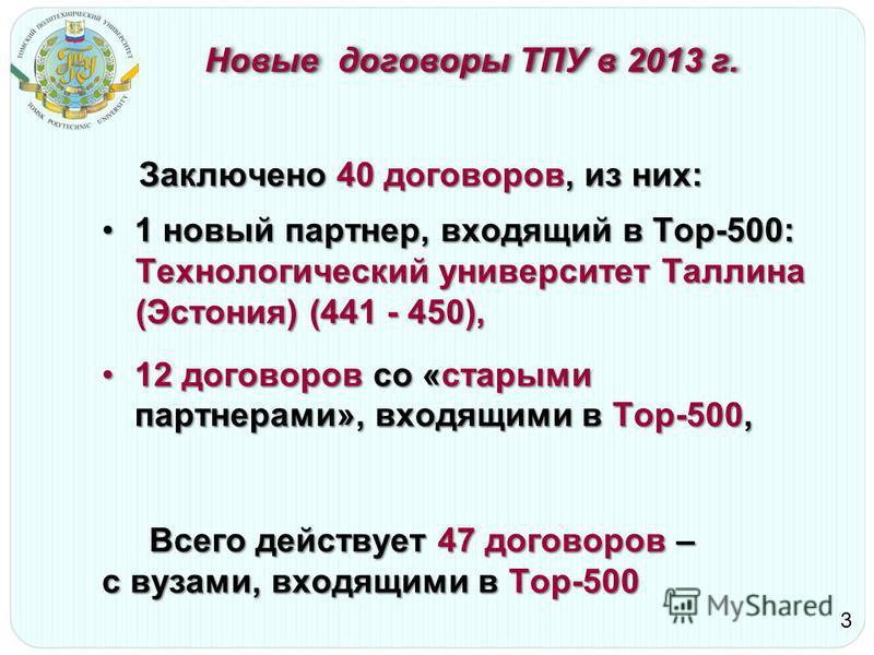 Новые договоры ТПУ в 2013 г. Заключено 40 договоров, из них: Заключено 40 договоров, из них: 1 новый партнер, входящий в Top-500:1 новый партнер, входящий в Top-500: Технологический университет Таллина (Эстония) (441 - 450), 12 договоров со «старыми