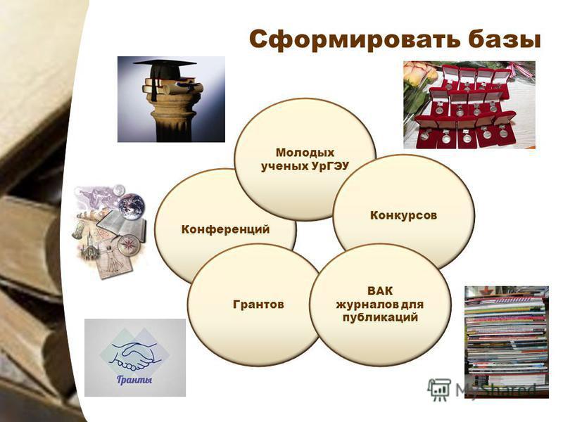 Сформировать базы Конференций Молодых ученых УрГЭУ Конкурсов Грантов ВАК журналов для публикаций