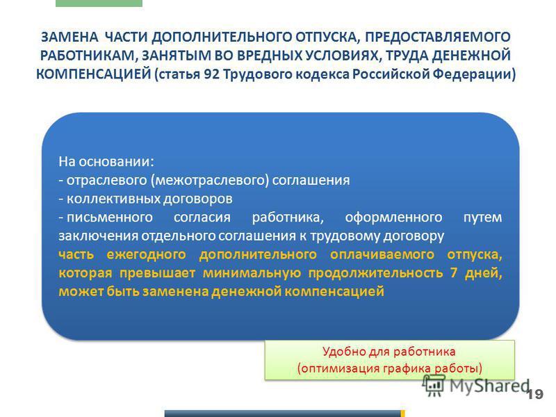 19 ЗАМЕНА ЧАСТИ ДОПОЛНИТЕЛЬНОГО ОТПУСКА, ПРЕДОСТАВЛЯЕМОГО РАБОТНИКАМ, ЗАНЯТЫМ ВО ВРЕДНЫХ УСЛОВИЯХ, ТРУДА ДЕНЕЖНОЙ КОМПЕНСАЦИЕЙ (статья 92 Трудового кодекса Российской Федерации) Обязательная страховка Обязательная страховка На основании: - отраслевог
