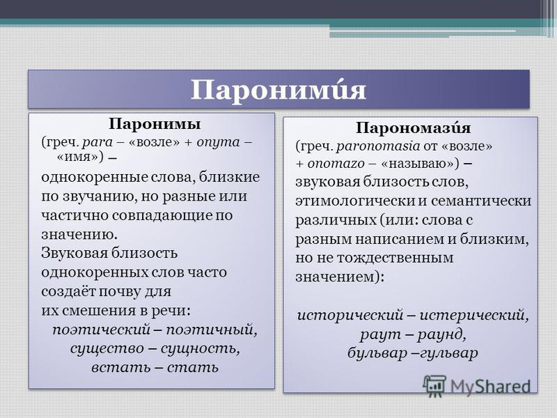 Паронимúя Паронимы (греч. para – «возле» + onyma – «имя») – однокоренные слова, близкие по звучанию, но разные или частично совпадающие по значению. Звуковая близость однокоренных слов часто создаёт почву для их смешения в речи: поэтический – поэтичн
