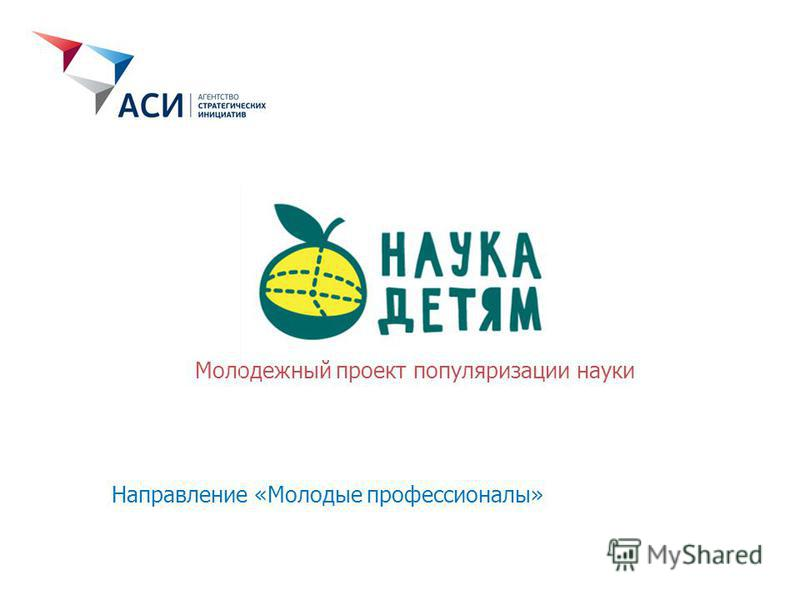 Молодежный проект популяризации науки Направление «Молодые профессионалы»