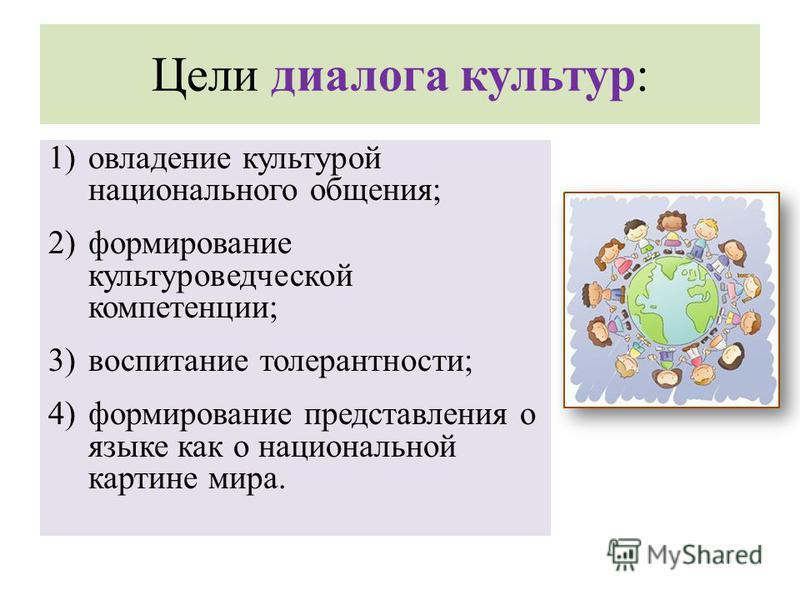 Цели диалога культур: 1)овладение культурой национального общения; 2)формирование культуроведческой компетенции; 3)воспитание толерантности; 4)формирование представления о языке как о национальной картине мира.