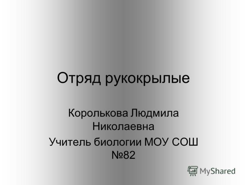Отряд рукокрыалые Королькова Людмила Николаевна Учитель биологии МОУ СОШ 82