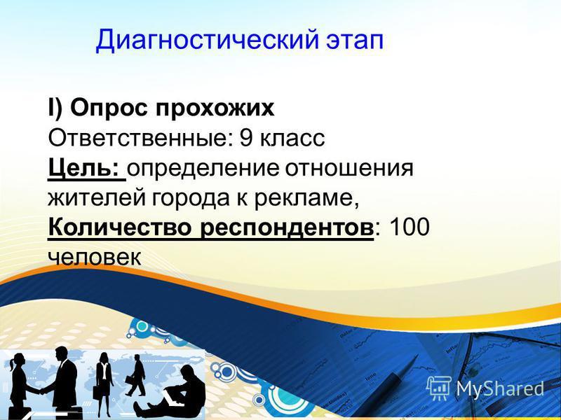 Диагностический этап I) Опрос прохожих Ответственные: 9 класс Цель: определение отношения жителей города к рекламе, Количество респондентов: 100 человек