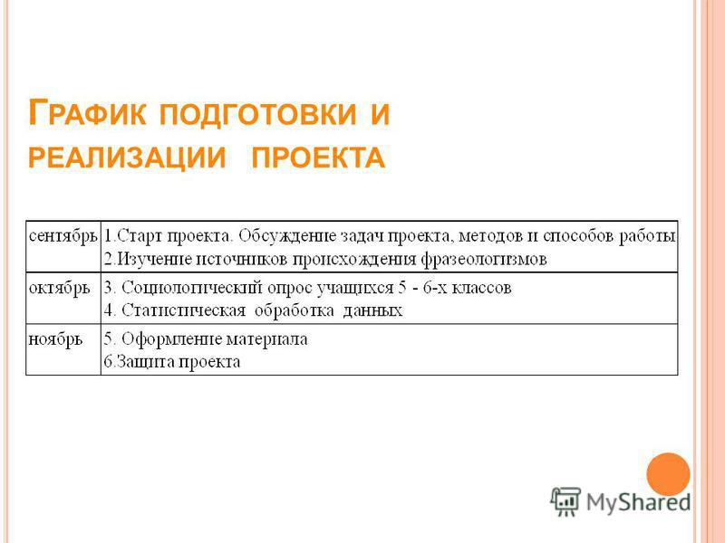 Г РАФИК ПОДГОТОВКИ И РЕАЛИЗАЦИИ ПРОЕКТА