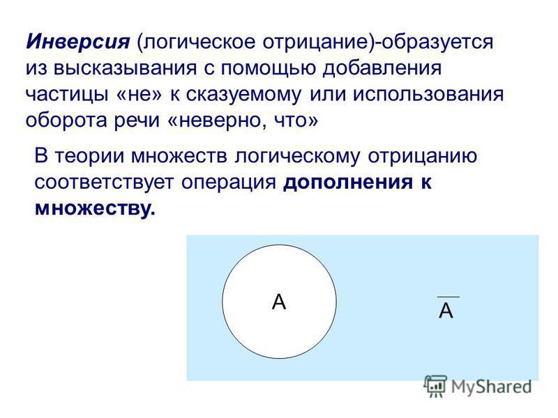 Инверсия (логическое отрицание)-образуется из высказывания с помощью добавления частицы «не» к сказуемому или использования оборота речи «неверно, что» A A В теории множеств логическому отрицанию соответствует операция дополнения к множеству.