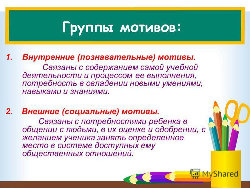 Группы мотивов: 1. Внутренние (познавательные) мотивы. Связаны с содержанием самой учебной деятельности и процессом ее выполнения, потребность в овладении новыми умениями, навыками и знаниями. 2. Внешние (социальные) мотивы. Связаны с потребностями р
