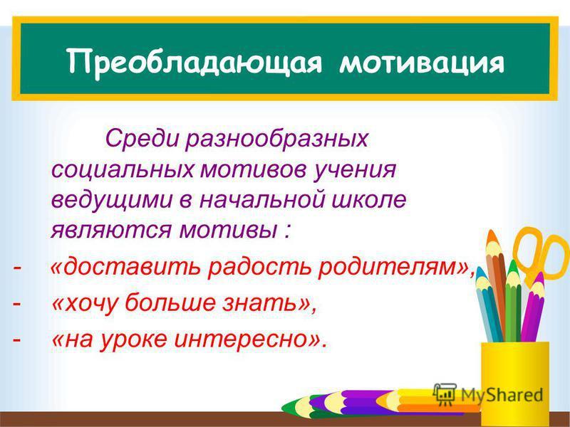 Преобладающая мотивация Среди разнообразных социальных мотивов учения ведущими в начальной школе являются мотивы : - «доставить радость родителям», -«хочу больше знать», -«на уроке интересно».