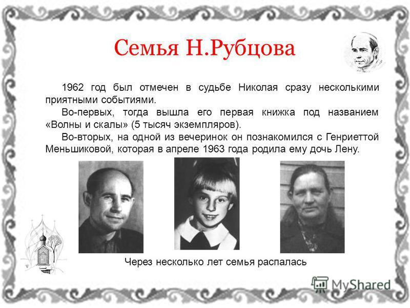 1962 год был отмечен в судьбе Николая сразу несколькими приятными событиями. Во-первых, тогда вышла его первая книжка под названием «Волны и скалы» (5 тысяч экземпляров). Во-вторых, на одной из вечеринок он познакомился с Генриеттой Меньшиковой, кото
