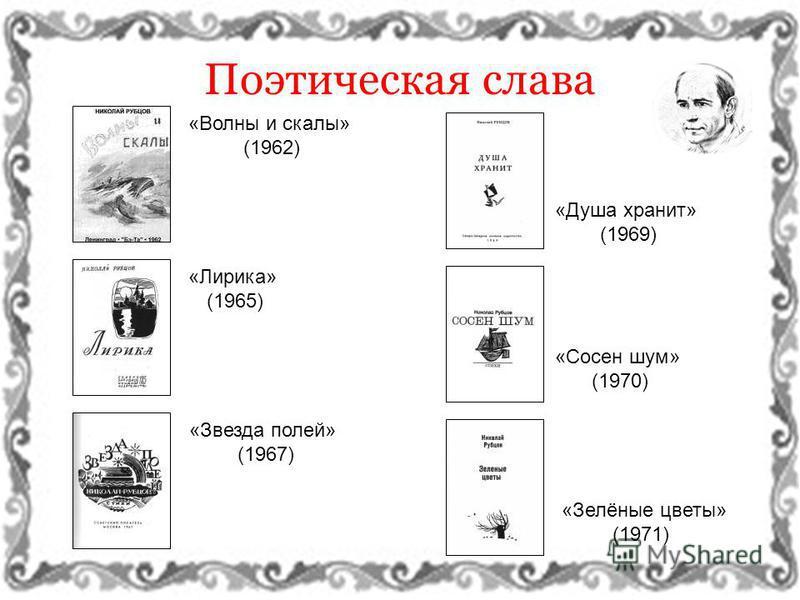 Поэтическая слава «Волны и скалы» (1962) «Лирика» (1965) «Звезда полей» (1967) «Душа хранит» (1969) «Сосен шум» (1970) «Зелёные цветы» (1971)