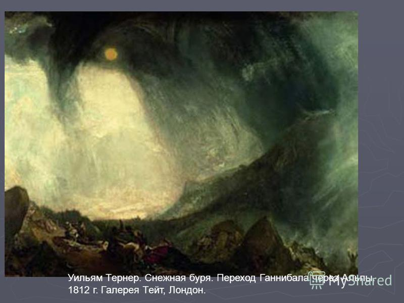 Уильям Тернер. Снежная буря. Переход Ганнибала через Альпы. 1812 г. Галерея Тейт, Лондон.