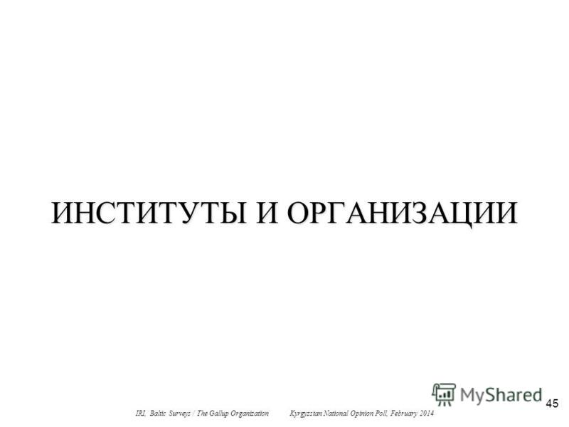 45 ИНСТИТУТЫ И ОРГАНИЗАЦИИ IRI, Baltic Surveys / The Gallup Organization Kyrgyzstan National Opinion Poll, February 2014