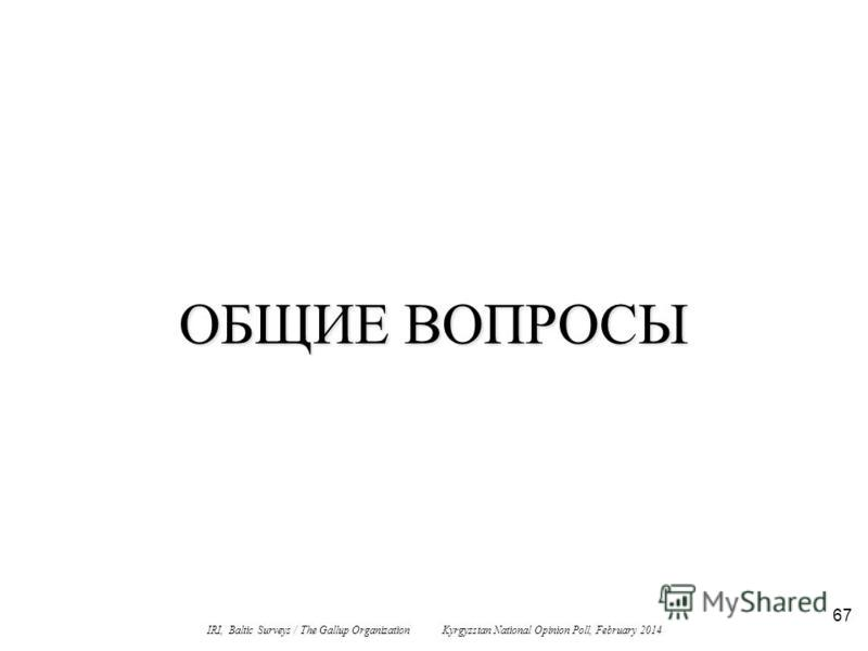 67 ОБЩИЕ ВОПРОСЫ IRI, Baltic Surveys / The Gallup Organization Kyrgyzstan National Opinion Poll, February 2014
