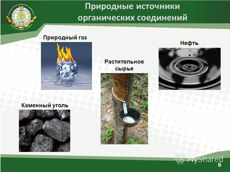 Природные источники органических соединений Природный газ Каменный уголь Растительное сырье Нефть 6