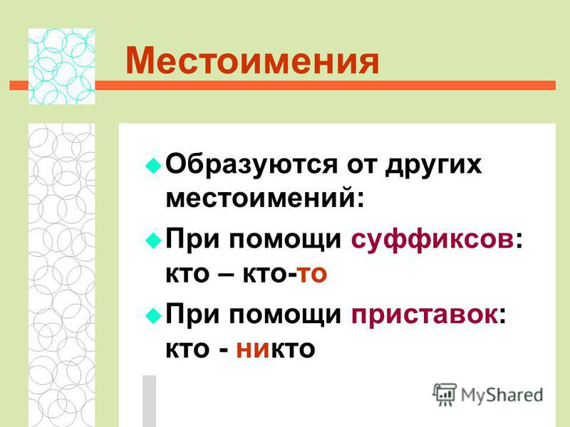 Местоимения Образуются от других местоимений: При помощи суффиксов: кто – кто-то При помощи приставок: кто - никто