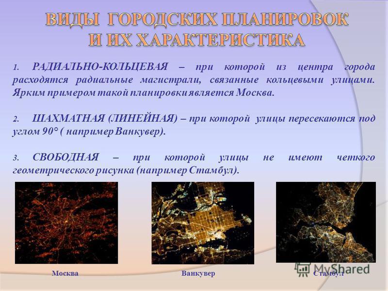 1. РАДИАЛЬНО-КОЛЬЦЕВАЯ – при которой из центра города расходятся радиальные магистрали, связанные кольцевыми улицами. Ярким примером такой планировки является Москва. 2. ШАХМАТНАЯ (ЛИНЕЙНАЯ) – при которой улицы пересекаются под углом 90° ( например В