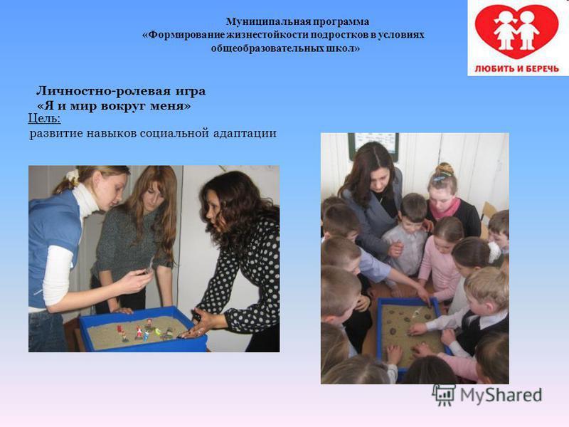 Муниципальная программа «Формирование жизнестойкости подростков в условиях общеобразовательных школ» Личностно-ролевая игра «Я и мир вокруг меня» Цель: развитие навыков социальной адаптации