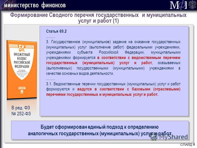 СЛАЙД 4 Статья 69.2 …….. 3. Государственное (муниципальное) задание на оказание государственных (муниципальных) услуг (выполнение работ) федеральными учреждениями, учреждениями субъекта Российской Федерации, муниципальными учреждениями формируется в