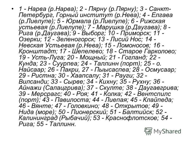 1 - Нарва (р.Нарва); 2 - Пярну (р.Пярну); 3 - Санкт- Петербург, Горный институт (р.Нева); 4 - Елгава (р.Лиелупе); 5 - Юрмала (р.Лиелупе); 6 - Рижская устьевая (р.Лиелупе); 7 - Марушка (р.Даугава); 8 - Рига (р.Даугава); 9 - Выборг; 10 - Приморск; 11 -
