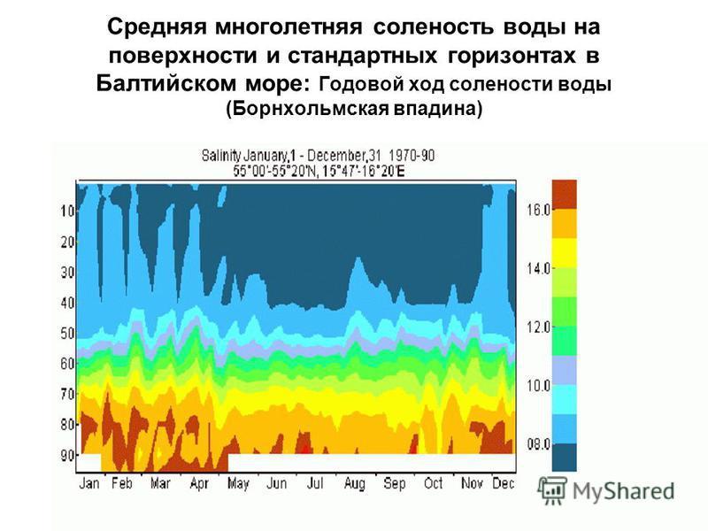 Средняя многолетняя соленость воды на поверхности и стандартных горизонтах в Балтийском море: Годовой ход солености воды (Борнхольмская впадина)