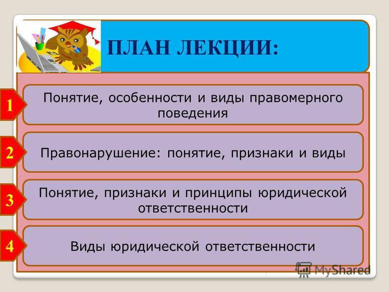 Право 3 ПЛАН ЛЕКЦИИ: Правонарушение: понятие, признаки и виды Понятие, особенности и виды правомерного поведения Понятие, признаки и принципы юридической ответственности Виды юридической ответственности 1 2 3 4
