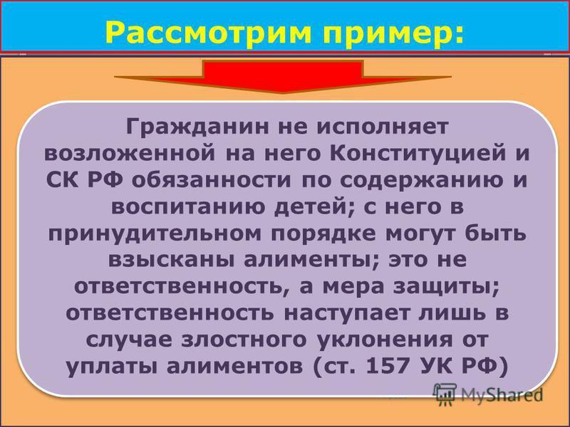 Рассмотрим пример: Право 72 Гражданин не исполняет возложенной на него Конституцией и СК РФ обязанности по содержанию и воспитанию детей; с него в принудительном порядке могут быть взысканы алименты; это не ответственность, а мера защиты; ответственн